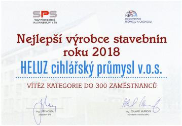 Heluz – diplom pro nejlepšího výrobce stavebnin roku 2018