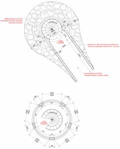 """Půdorys vstupní úrovně a půdorys konstrukce v rovině největší šířky """"oken"""" ve 2. NP"""