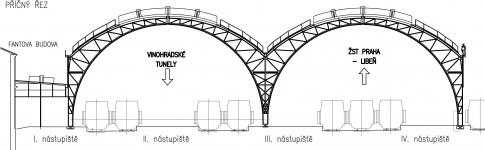 Obr. 1: Příčný řez konstrukcí, příčná vazba – trojkloubové rámy výšky 18 m