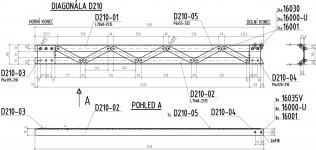 Obr. 4: Diagonála – typický konstrukční prvek výplňového prutu příhradových vazníků