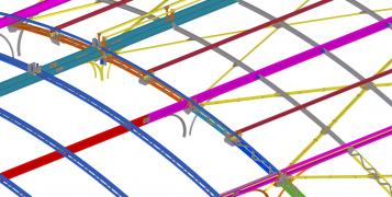 Obr. 29: 3D model konstrukce v poli 19–20 – horní pasy, vaznice, ztužidla