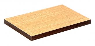Hladký povrch s dekorem dřeva. Podle hnědé barvy použité fenolické pryskyřice lze poznat desku s vysokou odolností proti vlhkosti.