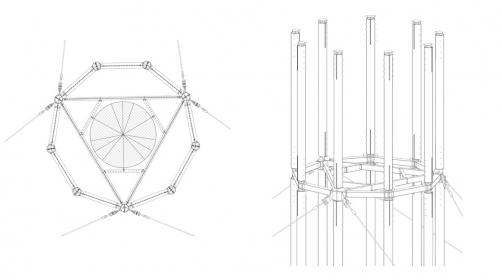 Obr. 2: Napojení segmentů rozhledy ocelovým styčníkem