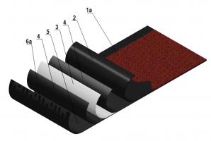 Obr. 6: Schéma asfaltového hydroizolačního materiálu Vysvětlivky: 1a – ochranný hydrofobizovaný posyp na vrchní straně asfaltového pasu, 2 – vrchní vrstva izolačního asfaltu, 3 – výztužná vložka, 4 – vrchní a spodní asfaltová penetrace výztužné vložky, 5 – spodní vrstva izolačního asfaltu, 6a – povrchová úprava na spodní straně asfaltového pásu
