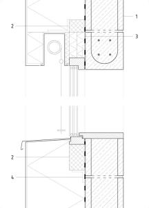Detail okna: 1 – Vnější omítka 5 mm; lepicí hmota 5mm; tepelná izolace EPS 300 mm; stěrková parotěsná hmota 5 mm; pohledové betonové tvárnice 200 mm; 2 – Tepelná izolace PIR 80 mm; 3 – Tepelná izolace z fenolické pěny 20 + 40 + 40 mm; 4 – Kompozitní kotevní úhelník