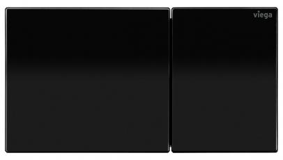 """Designová ovládací deska pro """"vzdálené splachování"""" Viega Visign for More 200 ve verzi z kvalitního tvrzeného bezpečnostního skla v barvě temně černá"""