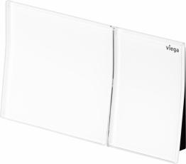 """Designová ovládací deska pro """"vzdálené splachování"""" Viega Visign for More 200 ve verzi z kvalitního tvrzeného bezpečnostního skla v barvě alpská bílá"""