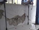 Zkouška pevnosti v tahu; ocelová část stále drží, beton kolabuje