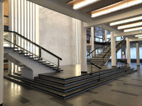 Vstupní aspolečenské prostory jsou rozloženy dotří podlaží propojených halou advěma jednoramennými schodišti