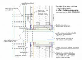Obr. 5: Vzorový detail prostupu nerezového komínu dřevěnou stěnou