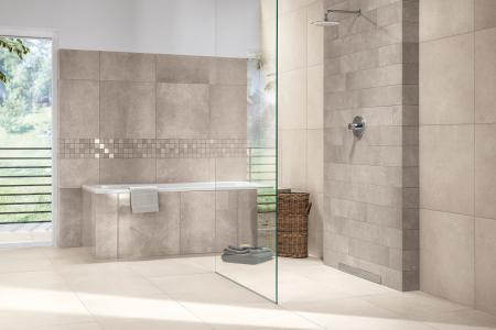 Glazované slinuté rektifikované dlaždice série Limestone s probarveným střepem imitují tmavý čedič, vápenec, travertin či mramor