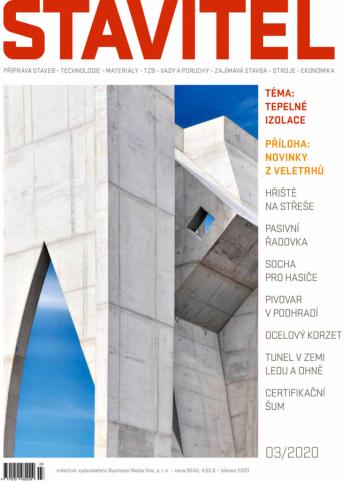 Stavitel 3/2020. Na titulní straně snímek z průběhu stavby UPO velké Poříčí
