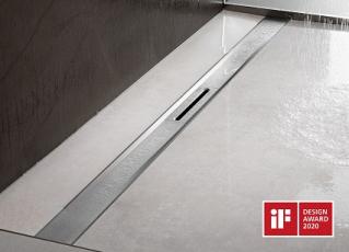Jeden z pěti oceněných produktů od společnosti Viega na soutěži iF Design Award 2020: nový sprchový žlábek Advantix Cleviva. Porotu přesvědčil svou variabilitou při projektování koupelny a svým puristickým designem s dokonale tvarovanými odtokovými profily (foto Viega).
