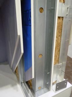 Typická skladba obvodové stěny s větranou fasádou. Zvukověizolační vlastnosti vysoce přesahují požadavky.