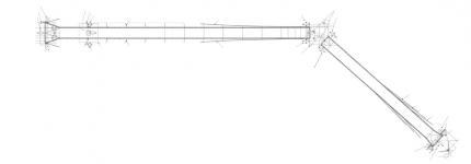 Půdorys: 1 – Ocelové ložisko neposuvné kloubové, 2 – Opěra na pravém břehu, 3 – Ocelové ložisko vedené vpodélném směru, 4 – Šikmý pylon, 5 – Elastomerové ložisko svolným kosením, 6 – Pilíř P1, 7 – Závěsy, 8 – Lano, 9 – Elastomerové ložisko svolným kosením a kluznou vrstvou pro dilataci vpodélném směru, 10 – Pilíř P2, 11 – Opěra O2 na levém břehu, 12 – Kotevní rošt