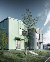 Bør Hill – 23 rodinných domů s pestrobarevnou hliníkovou fasádou značky PREFA
