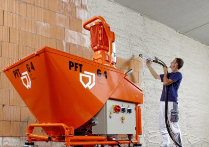 Originální omítací stroj Knauf PFT G4 s příslušenstvím zajistí, aby omítka byla bez hrudek a bublinek