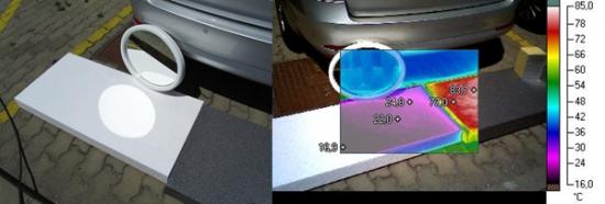"""Obr. 3a: Sestava bílého a šedého EPS pro určení rozdílu teplot vlivem oslunění a teplotního odrazu. """"Teplotní ovál"""" od odrazu zrcadla se na infrasnímku téměř nezobrazuje. Bílá barva desky odráží sluneční paprsky dále do prostoru a teplotu bílé desky prakticky neovlivňují."""