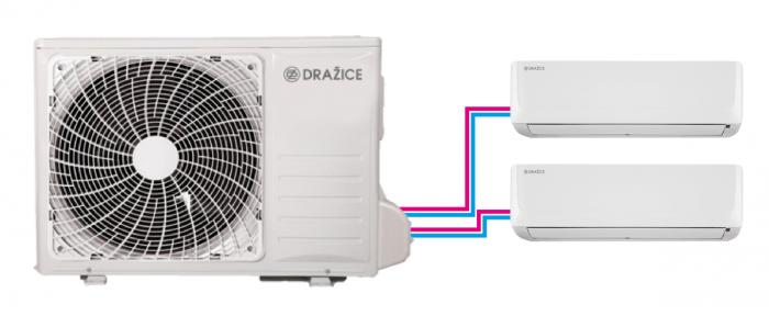 Venkovní jednotka s dvěma vnitřními (klimatizace AIR typu multisplit)