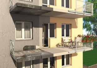 Renovace železobetonových konstrukcí balkonů, porovnání stavu