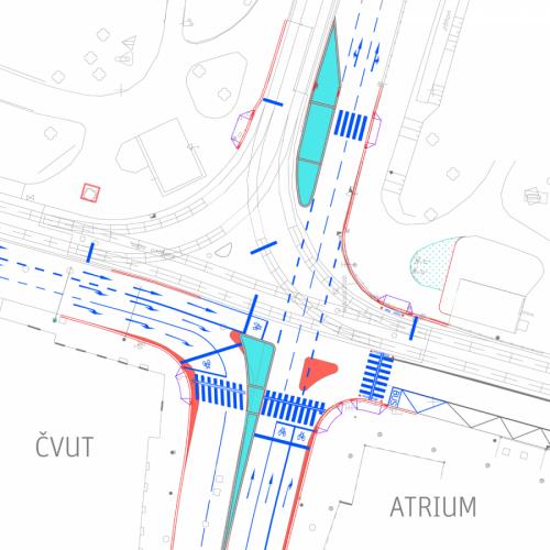 Křižovatka Resslovy a Karlova náměstí, situace