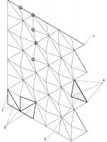 Schéma perforované fasády. 1 – okraj fasády; 2 – tři druhy atypických kazet po obvodu fasády, které tvoří rovnou linii; 3 – kazeta ve tvaru rovnoramenného trojúhelníka se sklopeným lemem, čtyři kazety tvoří tvar pyramidy; 4 – ocelové výztuhy kazety