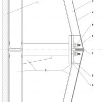 Řez fasádou. 1 – hlukově pohltivá vrstva; 2 – ocelová podkonstrukce; 3 – výztužný plechový profil; 4 – hliníkový plech tl. 2 mm; 5 – zajištění kazety matkou a kontramatkou; 6 – uchycení kazety na závitový čep; 7 – spára mezi kazetami 4 mm; 8 – ocelová výztuha v rohu kazety; 9 – antivibrační pryžová podložka