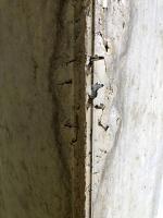 """Únik cementového tmele vlivem netěsnosti bednění, i když byla použita vložka; neměla být i zde použita vložka na """"ukosený"""" roh"""
