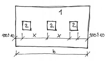 Obr. 13: Příprava zkušebních těles pro měření tloušťky plastové fólie dle (2]. Legenda: B – šířka plastové fólie, 1 – zkušební vzorek, 2 – zkušební těleso