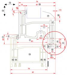 Obr. 1: Přesah (5) a překrytí (11) okenních křídel; správná hodnota přesahu je nutná k tomu, aby se na těsnění vytvořila nezbytná těsnící plocha, překrytí (vyvolané kováním) zabezpečuje dostatečný tlak v těsnicí rovině. Tyto dva parametry určují těsnost křídla vůči rámu (sloupku), a limitují tak průvzdušnost, vodotěsnost i vzduchovou neprůzvučnost. Hodnoty překrytí ovlivňují rozměry použitého těsnění u stejných výrobků. Poznámka: Ne vždy je systémový detail s vyznačenými kótami k dispozici, záleží na vůli výrobce systémových profilů nebo dodavateli OV, zda tento detail poskytne, neboť to není povinnost ze zákona a ani to nevyplývá ze žádné normy. Současně je nutno brát v úvahu tolerance kontrolovaných rozměrů, pokud je výrobce profilace uvádí