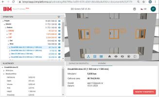 Zobrazení oceněného modelu na BIM platformě