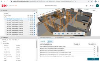 Zobrazení příček na BIM platformě včetně rozpočtu skladby ze Stavební knihovny DEK