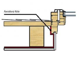Obr. 4–8: Parotěsná fólie, která má brzdit pronikání vlhkosti a vodních par z interiéru do střešního pláště, musí být důsledně napojena na okenní rám