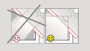 Obr. 1: Nastavení vnitřního ostění. Okenní parapet nastavte vždy tak, aby jeho spodní část byla svislá a horní pak vodorovná. Jedině tak může v prostoru pod oknem nerušeně probíhat cirkulace vzduchu a zároveň je tak dosažen maximální rozptyl světla.