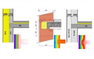 Obr. 3: Příklad napojení konstrukce stropu na obvodovou stěnu. Je zde patrné, že u některých konstrukčních systémů je řešení tepelného mostu bezproblémové, u některých je úplná eliminace tepelného mostu téměř nemožná. a) VPC; b) lehčená cihla s integrovanou tepelnou izolací; c) pórobeton; d) tepelněizolační pórobeton