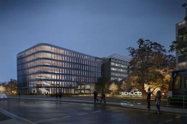 Schüco One, nová budova centrály společnosti Schüco, je důkazemudržitelného stavebnictví. Jejím cílem je jako první na světě získat tři typycertifikace: LEED, BREEAM a DGNB. Foto: 3XNArchitects