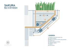 Rezidenční projekt Sakura - řez květníkem