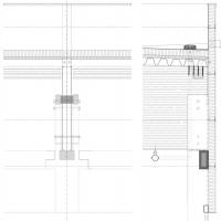Zleva – pohled na osazení nosníku na svislou nosnou konstrukci, zprava – detail atiky