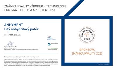 Litý anhydritový potěr ANHYMENT byl v letošním ročníku soutěže Technologie pro stavitelství a architekturu oceněn bronzovou známkou kvality
