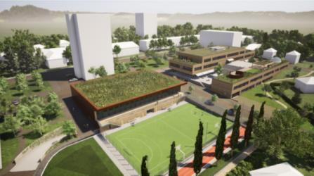 Vizualizace školy na Komenského náměstí v Říčanech z dokumentace pro stavební povolení, Rusina Frei architekti