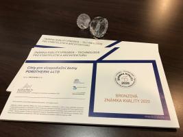 Bronzová Známka kvality VÝROBEK – TECHNOLOGIE pro stavitelství a architekturu 2020