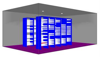 Obr. 3: Ukázka modelovaného prostoru (FDS)