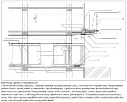 Řešení fasády v parteru a v části markýzy - řez