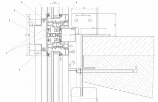 Uchycení stropní desky: 1 - Spojovací třmen, nerez; 2 - DIN 9021; 3 - Nerezový obkladový plech; 4 - Přítlačná lišta; 5 - DIN 964; 6 - Zasklívací lišta