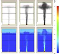 Obr. 6: Kumulace a prostup kouře přehřátou vrstvou vzduchu pod střechou atria – výška 16 m