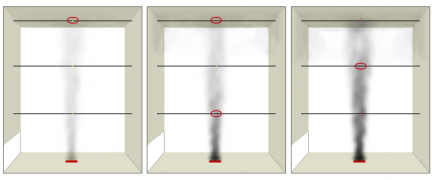 Obr. 7: Hustota kouře při aktivaci jednotlivých hlásičů – výška atria 12 m, bez přehřáté vrstvy vzduchu