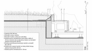 Řez – skladba vegetační střechy sintenzivní zelení