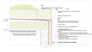 Detail ukončení vegetační střechy Střešní plášť svegetačním souvrstvím: Vegetační souvrství 100 kg/m2, výška 500 mm; filtrační a vodoakumulační textilie – drenážní nopová fólie; modifikovaný asfaltový pás odolný proti prorůstání kořenů, nosná vložka zPES rohože, ochranný posyp, celoplošně nataveno; SBS modifikovaný asfaltový pás, nosná vložka ze skelné tkaniny, bodově nataveno; penetrační nátěr spádového betonu asfaltovými emulzemi; spádová vrstva – beton prostý lehčený; nosná železobetonová deska pohledová