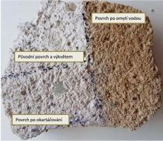 Obr. 6: Zkouška čistění vzorku nové omítky od solí (Foto: P. Rovnaníková)