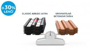 Střešní taška Classic AERLOX ULTRA je o třetinu lehčí než srovnatelný model betonové tašky